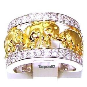 Tova Diamonique Elephant Ring 14K Clad+Silver Ring
